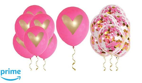 official photos 9d389 091b3 Amazon.com  Pink Gold Confetti Heart Balloons Love 12