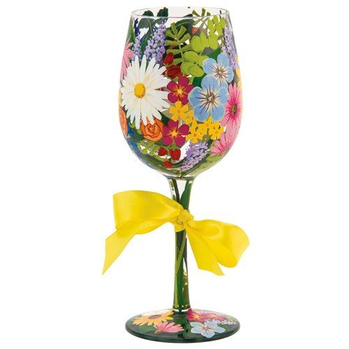 "Designs by Lolita ""Wildflowers"" Hand-painted Artisan Wine Glass, 15 oz."
