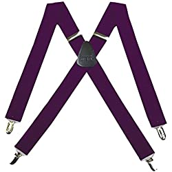 SUS-43-EGGP - Solid Suspender for Men Made in USA X-Back Genuine Leather Trimmed clip end tuxedo suspenders - Eggplant