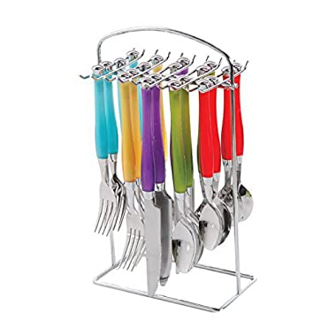 Gibson Home 105913.20 Santoro 20 Piece Set Plastic Handle Flatware on Hanging Rack, Multicolor