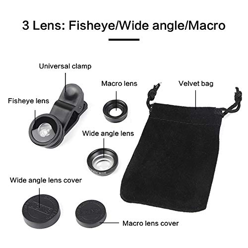 Bigmai 3 in 1 Phone Lens Kit - Macro Lens,Wide Angle Lens,Fisheye, Clip-On Cell Phone Camera Lenses for iPhone Android Samsung Mobile Phones and Tablets (red) by Bigmai (Image #2)