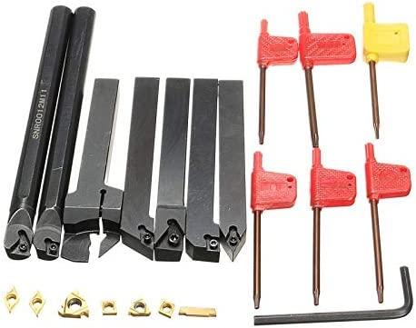NO LOGO ZDX-CHEXIAODJ, 21 Teile/Satz 12mm Schaftdrehmaschine Drehwerkzeughalter Bohrstange + Einsatz + Schraubenschlüssel S12M-SCLCR06 / SER1212H16 / SCL1212H06