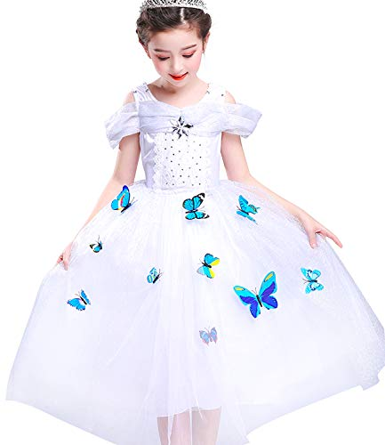 Halloween Costumes Girls Baby Girls Cinderella Dress up Cosplay Party Princess Dress Butterfly Butterfly Skirt 3-12Y -