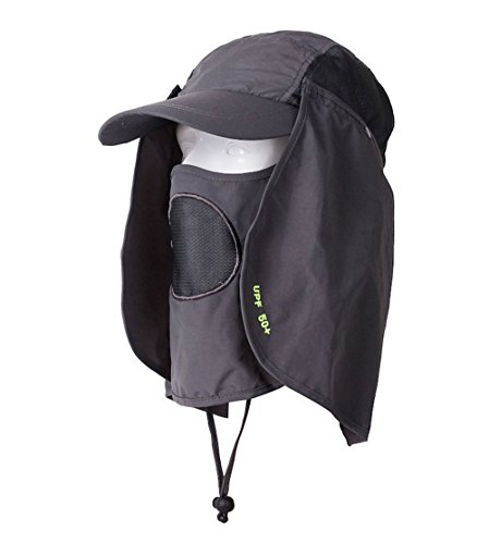 Gray UV 50+ Protection Outdoor Multifunctional Flap Hat Neck Protection Cap with Removable Sun Shield and Mask Perfect for Fishing Hiking Garden Work Activities