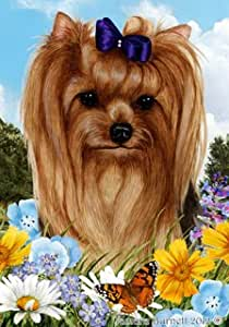 "BOB Yorkie Show Corte (2) Perro–Tamara Burnett Flores de Verano al Aire Libre jardín Bandera 12""X 17"""