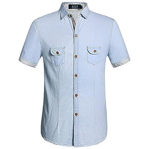 SSLR Mens Button Down Casual Short Sleeve Denim Shirt (Small, Blue)