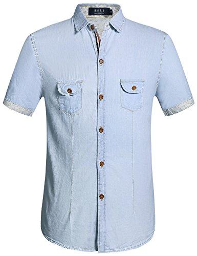 SSLR Men's Button Down Casual Short Sleeve Denim Shirt (X-Large, Blue)