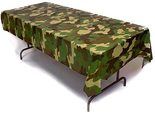 Prestidge 3 Pack Camouflage Tablecloths Plastic Durable Camo Tablecovers for Rectangular Tables Complete with Beverage Napkins]()