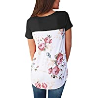 HOTAPEI Women Casual Floral Print Back Short Sleeve Criss Cross V Neck Blouse Tops