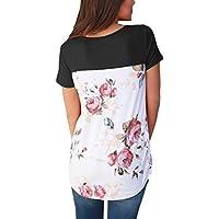hotapei Mujeres Casual Impresión floral Atrás Criss Cross cuello en V de manga corta blusa Tops