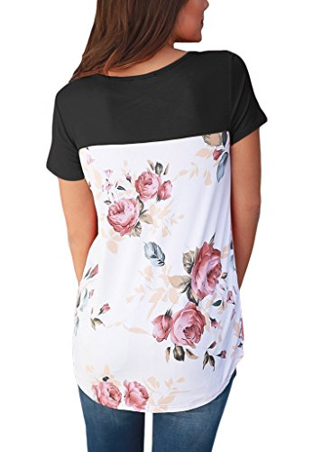 HOTAPEI Women Casual Floral Print Short Sleeve Criss Cross Shirts Blouse Tops Black Large