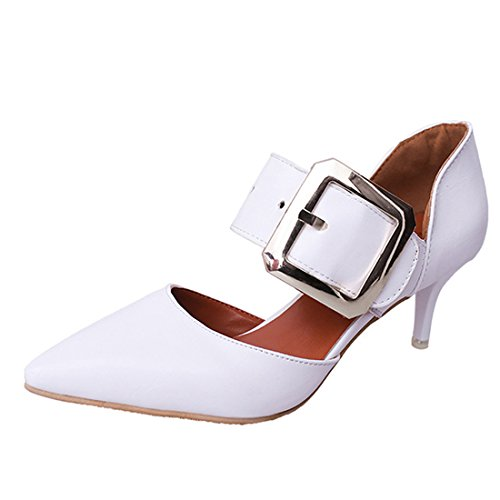 Women Fashion Pointed Toe Court Shoes With Buckle Strap Mid High Heel Stilettos Pumps Office Party Shoes White PHeewP