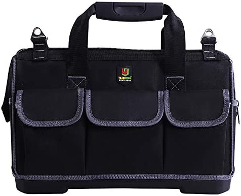 KKmoon 収納バッグ 多機能ツール収納バッグ 大容量 厚手オックスフォード布 プラスチック底ツールバッグ 配管工/電気技師用