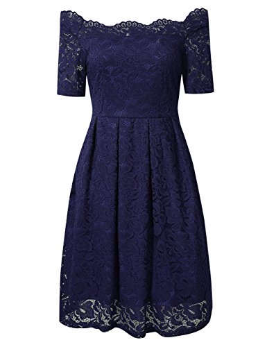 GlorySunshine Women's Long Sleeve Sexy Off Shoulder Elegant Lace A Line Casual Dress (2XL, Short Blue)