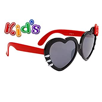 Kid Sized Heart Shaped Sunglasses W/ Colored Bow Many Colors Girls Baby (Black w/ Red Temples)