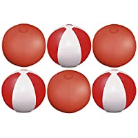 """eBuyGB Pack of 6 Inflatable Colour Beach Ball 22 cm / 9"""" - Beach Pool Game (Transparent Red)"""