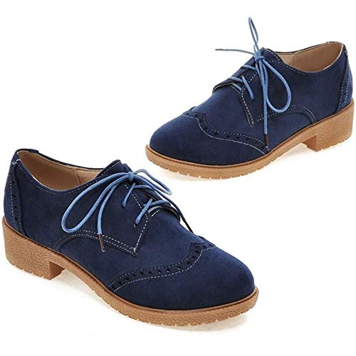 Femmes Chaussures Brogues à Lacets Bleu TAOFFEN 45qTwEnT