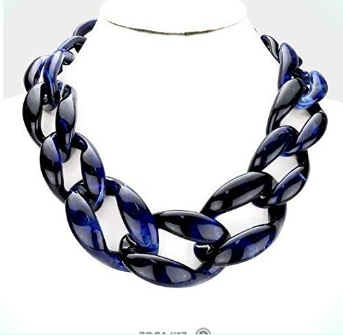 Acrylic Navy Blue Big Curb Link Chain Chunky Statement Necklace for Women