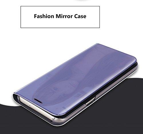 Caja del Teléfono Móvil Metal para iPhone Ten, iPhone X 5.8 Case Mirror Funda, SevenPanda Flip Stand Luxury Mirror Funda Transparente del Teléfono Móvil Caja del Teléfono Inteligente Sleep / Wake Fun Stand - Negro