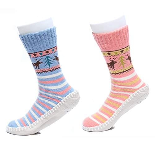 Ofoot Womens/Girls Soft Cozy Warm Cotton Polyester House Slipper Socks, Thermal Winter Stockings with Faux Suede Sole