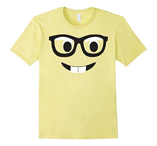 Men's Emoji Shirt Costume Buck Teeth Emoji Nerd Glasses Yellow 2XL Lemon