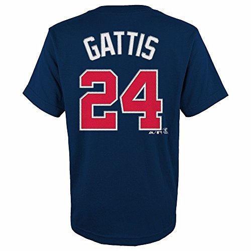 Evan Gattis Atlanta Braves MLB Majestic Youth's Navy Blue Player Name & Number Jersey T-Shirt (BOY18-20_XL) - Braves Mlb T-shirt