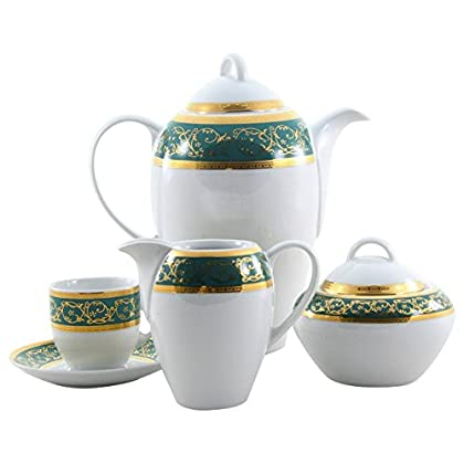 Image of Coffee Serving Sets THUN Saphyr Greca Coffee Set, Porcelain, Green, 30 x 30 x 30 cm