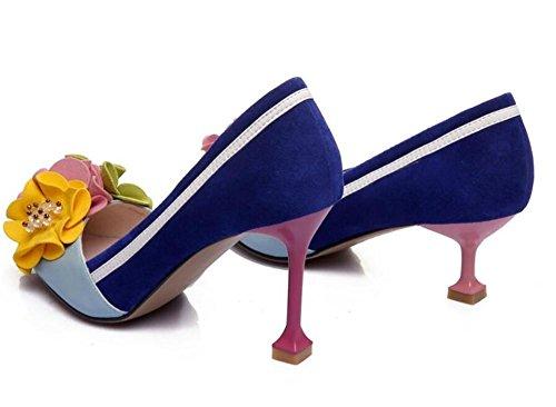 flores de 35 bombas mujer puntiaguda Heel o Sandalias 5cm de genuina Zapatos 38 de Punta de a hechizo piel Elegante Tama Color zq8xnFTa