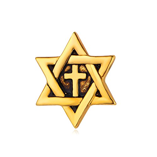 U7 Men's Star of David Necklace & Chain Cross Megan David Pendant Jewish Jewelry (Brooch Gold) -