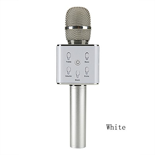Fortune Portable bluetooth Wireless Karaoke Microphone, 2600mAh Portable Hand Bluetooth Speaker for iPhone/Android/iPad/Sony,PC and All Smartphone (White)