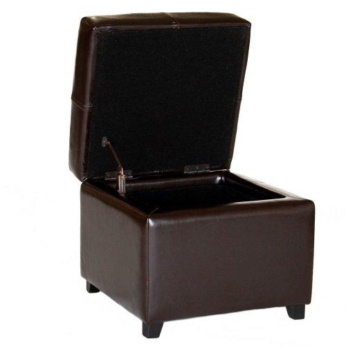 Wholesale Leather Ottoman Interiors (Baxton Studio Leather Storage Ottoman, Dark Brown)