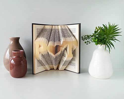 Folded Book Art Anniversary gift Two initials with a heart