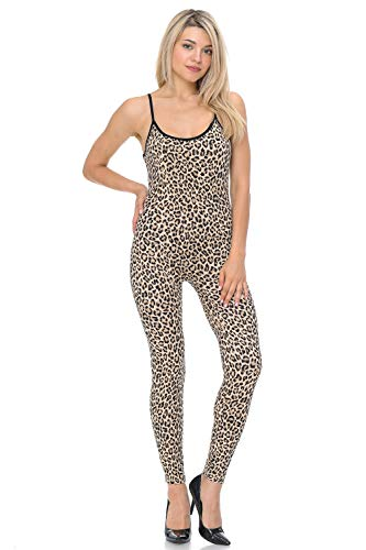 (JJJ Women Catsuit Cotton Lycra Tank Spaghetti Strapped Yoga Bodysuit Jumpsuit S-Plus (Large, Leopard))