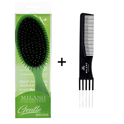 (Milano Collection Gentle Detangling Styling Brush For Wet or Dry Hair PLUS Free Teasing Comb- Lime)