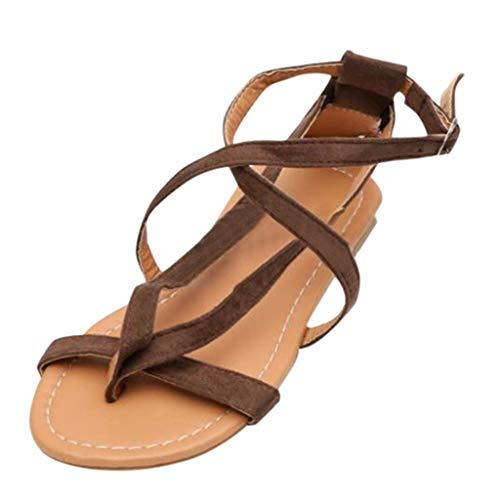 (Wobuoke Women's Platform Wedges Espadrille Rome Tie up Sandals Platform Summer Shoes Brown)