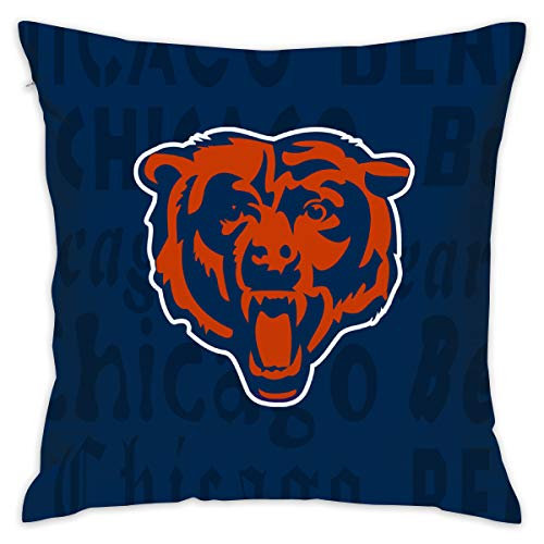 Gdcover Custom Colorful Chicago Bears Pillow Covers Standard Size Throw Pillow Cases Decorative Cotton Pillowcase Protecter with Zipper - 18x18 - Bears Chicago Pillow
