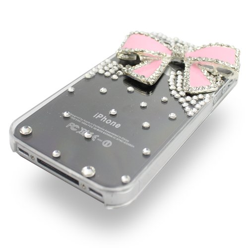 Fosmon 3D Bling Crystal Design Case with Pink Rhinestone Bow for iPhone 4/4S - Clear
