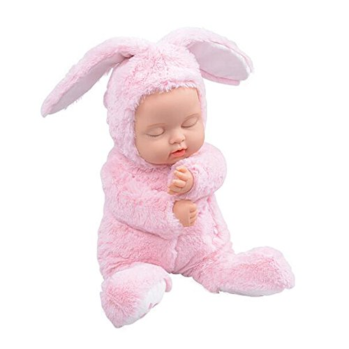 BIEBER Baby Child Gift Lifelike Realistic Reborn Sleeping Baby Doll Premium Soft Plush Toy (Pink) by BIEBER (Image #1)