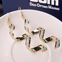 Siam panvaWomen Sophisticated Twist Spiral Eardrops Lady Girl Long Dangle Hook Earrings (Silver)