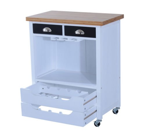 New White Wood MDF Kitchen Trolley Dining Cart Storage Red Wine Rack Rolling Wheels