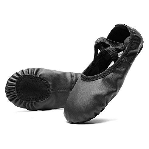 KONHILL Leather Ballet Dance Shoes Slippers Flat Gymnastics Yoga Shoes Girls (Toddler/Little Kid/Big Kid/Adult), Black, 36 by KONHILL