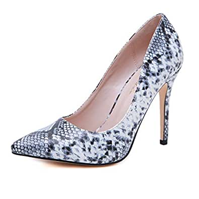 Stupmary Women Pumps Shoes Pointed Toe High Heels Ladies Wedding Party Dress Stilleo Heeled Shoes Grey Size: 5.5