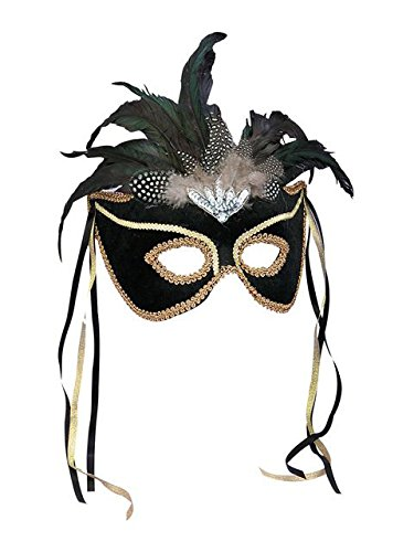 Forum Deluxe Half Mask With Feathers, Black, One Size - Feather Half Masks