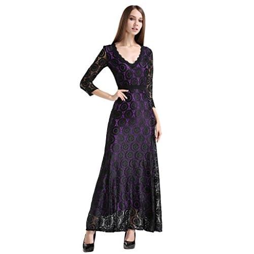 3c234a4fd09d Buenos Ninos Women s 2 3 Sleeve Deep V-neck Floral Lace Long Evening Gown