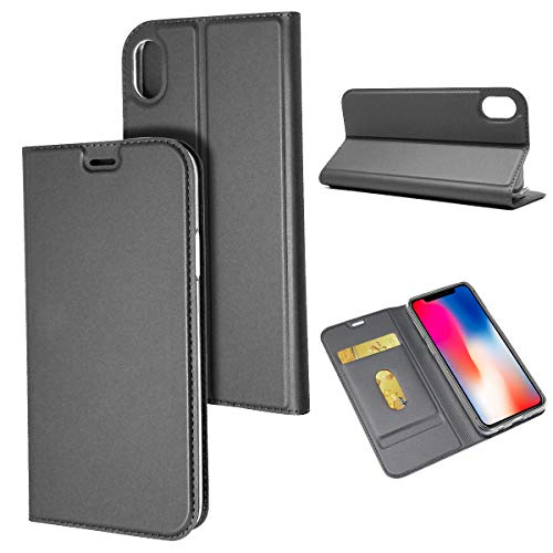 Crosspace iPhone XR Case, iPhone XR Wallet Case Slim Flip PU Leather with Soft TPU Case Magnetic Buckle Book Stand Protective Cover with Card Slots for iPhone XR 6.1-Gray