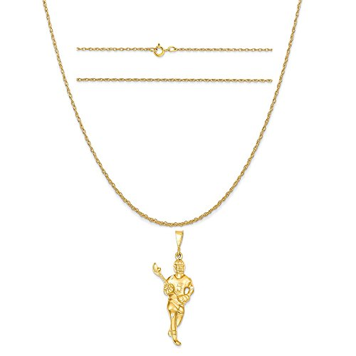 14k Yellow Gold Lacrosse Player Pendant on a 14K Yellow Gold Carded Rope Chain Necklace, 16