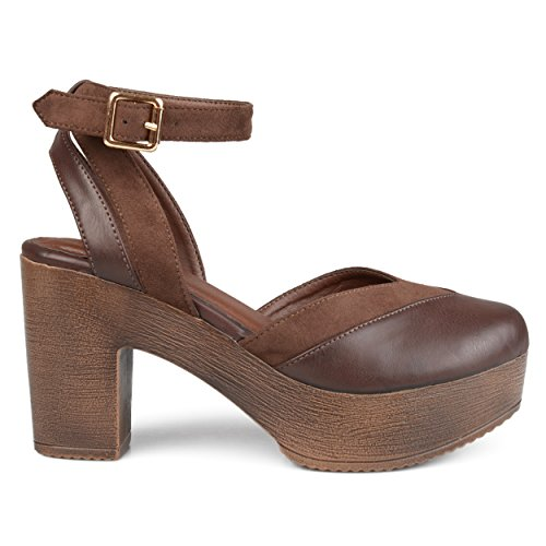 Brinley Co. Womens Rheya Faux Leather Faux Suede Ankle Wrap Platform Heels Brown, 11 Regular US