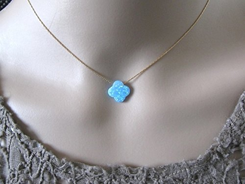 Amazon opal jewelry opal clover necklace opal necklace opal jewelry opal clover necklace opal necklace dainty necklace blue opal necklace mozeypictures Gallery