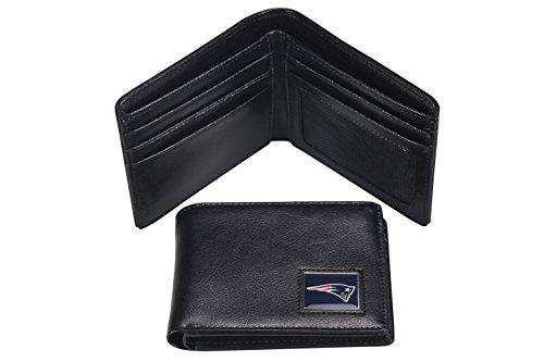 NFL New England Patriots Men's Leather RFiD Safe Travel Wallet, 4.25 x 3.25
