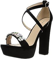 Velvet platform sandal with rhinestone detail
